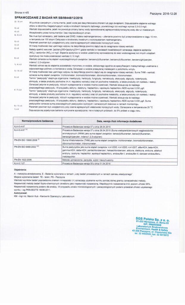 Archiwalne wyniki badań wody Lesznowola Pole