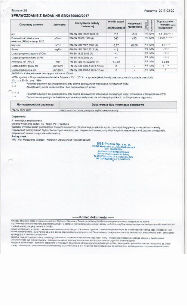 Archiwalne wyniki badań wody Wólka Kosowska