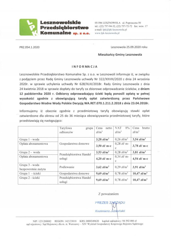 Informacja o zmianie taryfy
