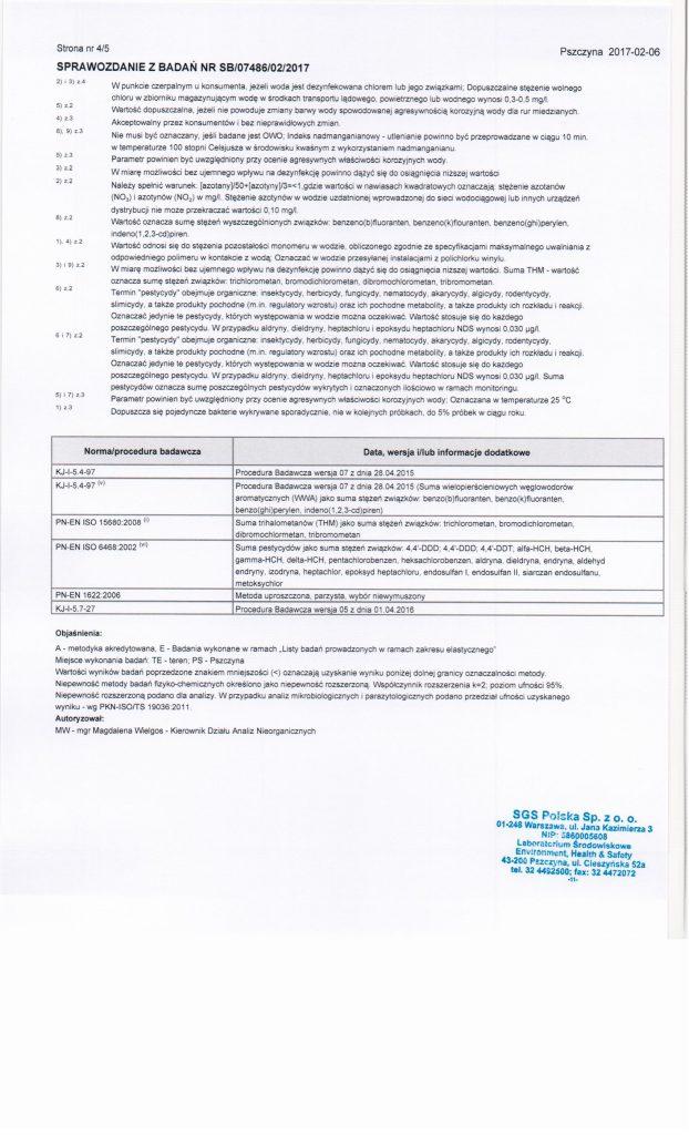 Archiwalne wyniki badań wody Lesznowola PGR