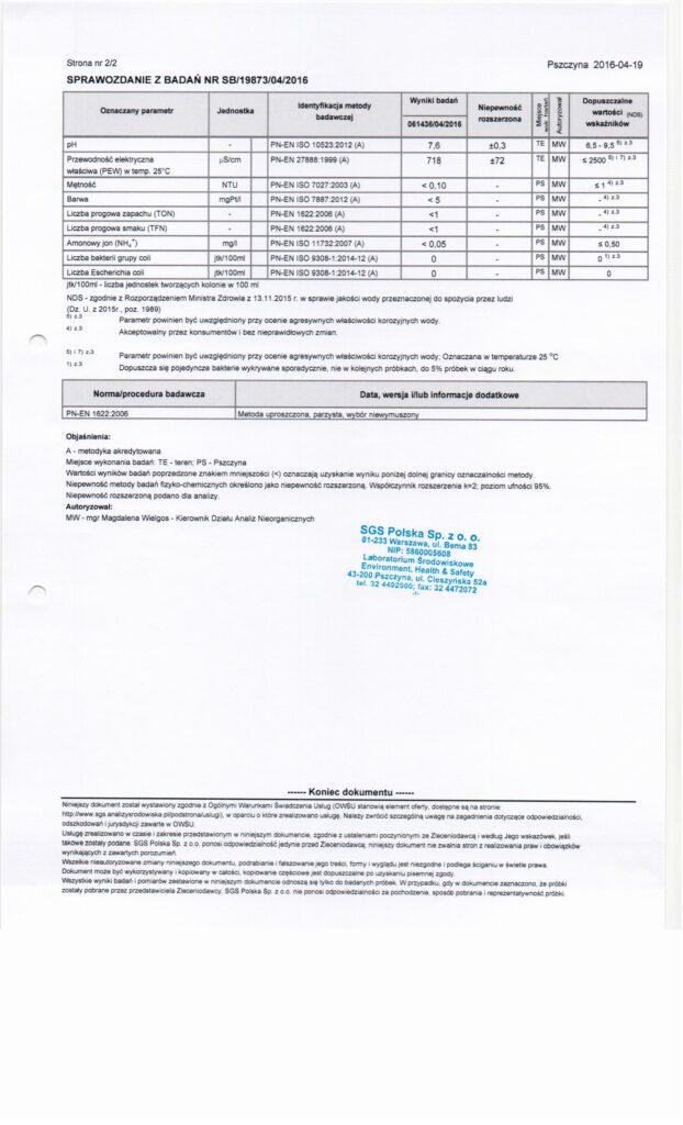 Archiwalne wyniki badań wody Stara Iwiczna